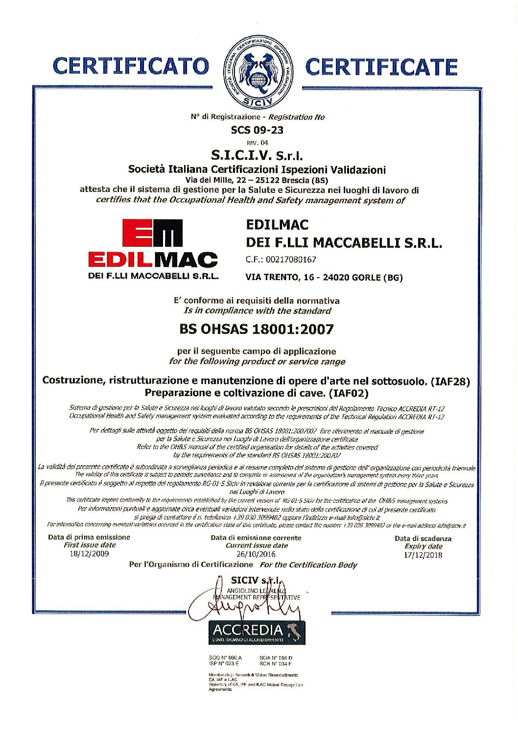 BS OHSAS 18001:2007 - Certificatión