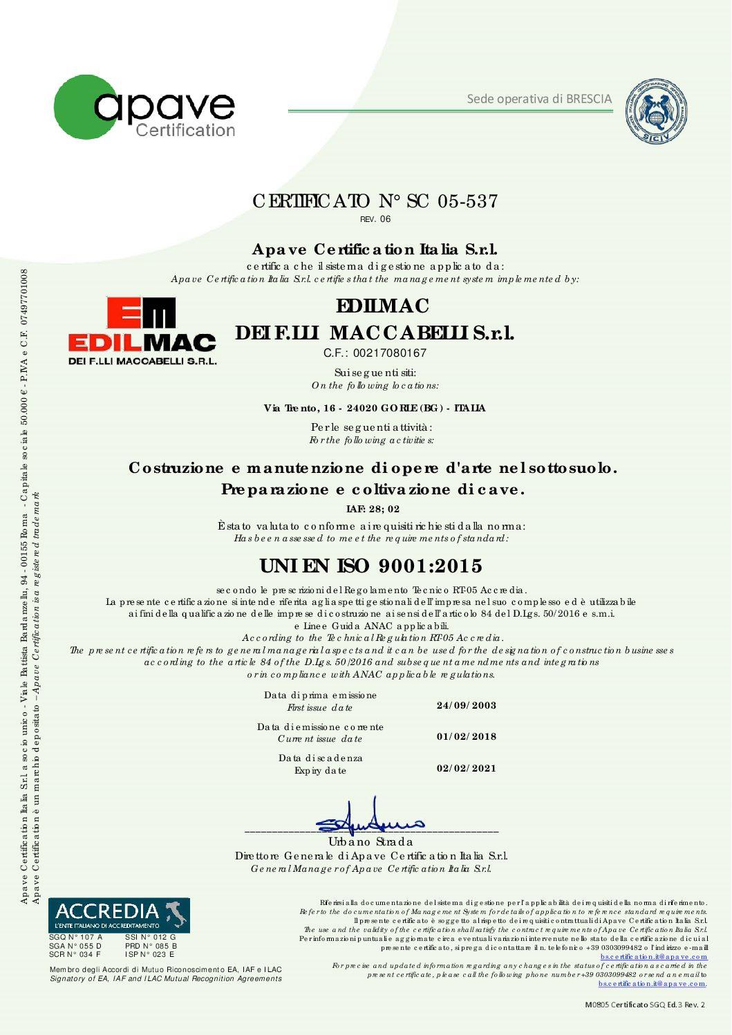 UNI EN ISO 9001:2015 - Certificazione qualità