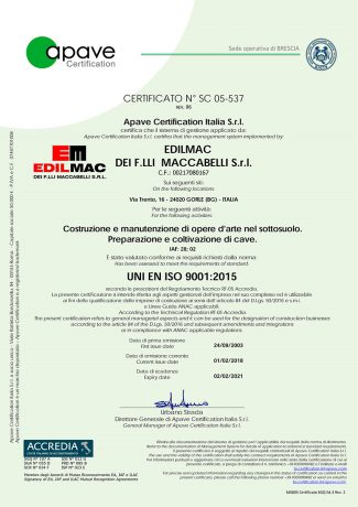 UNI EN ISO 9001:2015 - Quality certification