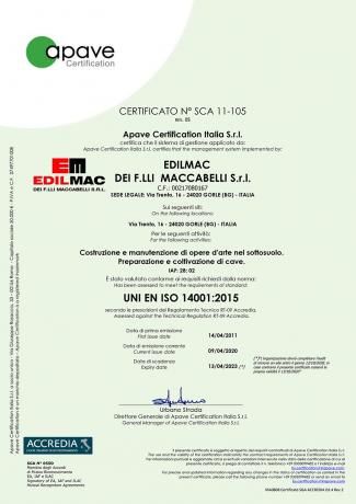 UNI EN ISO 14001:2015 - Environmental certification