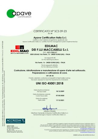 UNI ISO 45001:2018 - Safety certification