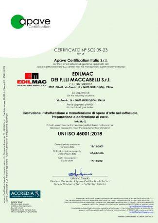 UNI ISO 45001:2018 - Certificatión de securidad