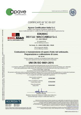 UNI EN ISO 9001:2015 - Certificatión de la calidad