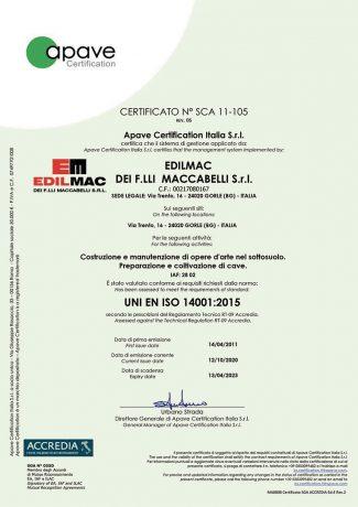 UNI EN ISO 14001:2015 - Certificatión ambiental